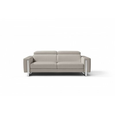Mindaugas Genuine Leather Sofa Upholstery: Warm Gray