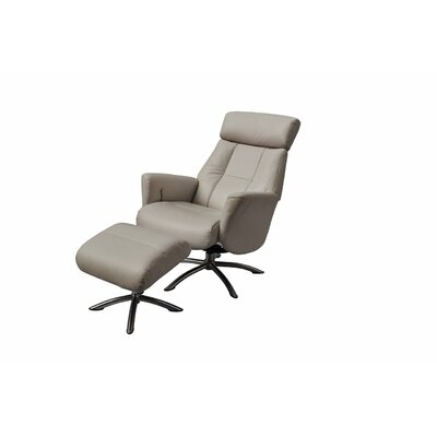 Mcclanahan Leather Manual No Motion Recliner with Ottoman Upholstery: Gray