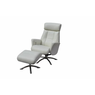 Mcclanahan Leather Manual No Motion Recliner with Ottoman Upholstery: White