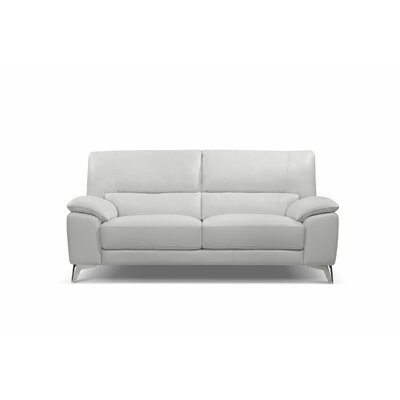 Podington Genuine Leather Loveseat Upholstery: White