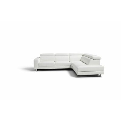 Sania Leather Sectional Upholstery: White