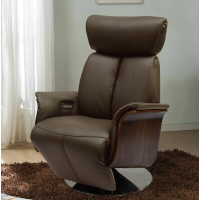 Creswell Leather Power Recline Swivel Recliner