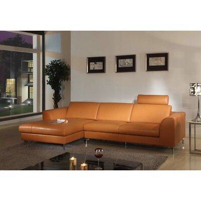 Angela Leather Sectional Upholstery: Camel, Orientation: Left Hand Facing