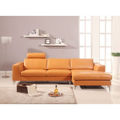 Angela Leather Sectional Upholstery: White, Orientation: Right Hand Facing