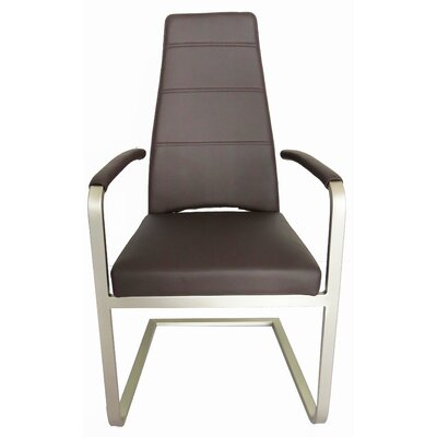 Ville Dining Arm Chair Upholstery: Chocolate