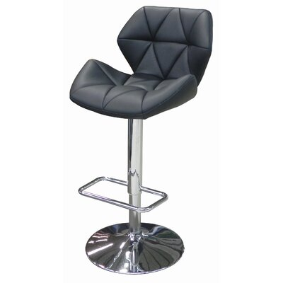 Aaron Adjustable Height Swivel Bar Stool Upholstery: Red