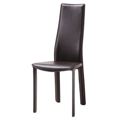 Allison Genuine Leather Upholstered Dining Chair Upholstery: Chocolate