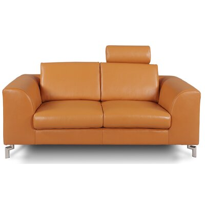 Angela Leather Loveseat Upholstery: Camel