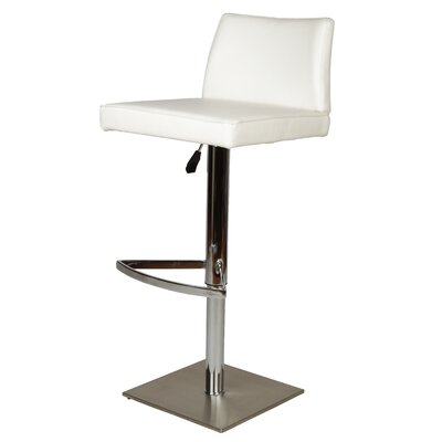 Medusa Adjustable Height Swivel Bar Stool Upholstery: White