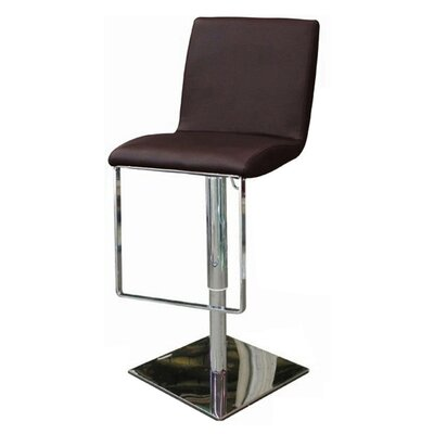 Gia Adjustable Height Swivel Bar Stool Upholstery: Chocolate