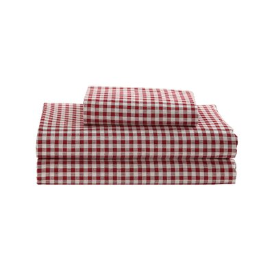 Gingham Printed Cotton Sheet Set Size: Twin, Color: Red