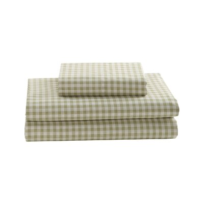 Gingham Printed Cotton Sheet Set Size: Twin, Color: Green