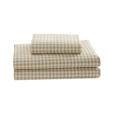 Gingham Printed Cotton Sheet Set Size: Twin, Color: Khaki