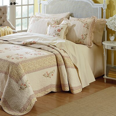 Morning Rose Bedspread Size: Full/Queen
