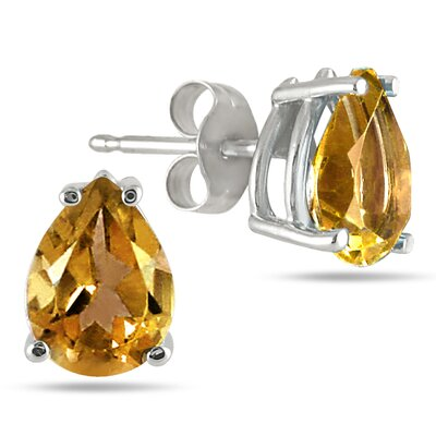 SZUL Pear Cut Gemstone Stud Earrings - Material: White Gold, Stone: Citrine at Sears.com