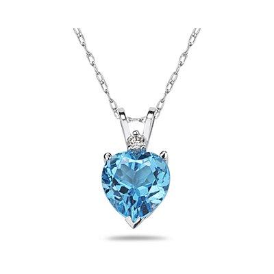 SZUL Gold Heart Cut Gemstone Stud Pendant - Material: Yellow Gold, Stone Size: 6mm, Stone: Blue Topaz