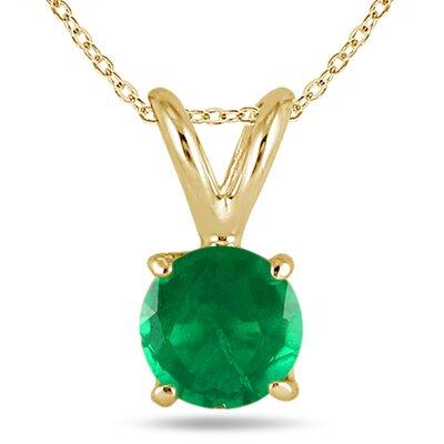 SZUL 14K Gold Round Cut Gemstone Pendant Set - Material: Yellow Gold, Stone Size: 4mm, Stone: Emerald