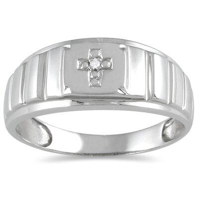 SZUL Men's 10K White Gold Round Cut Diamond Cross Ring - Size: 7