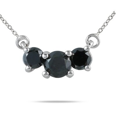 SZUL 14K White Gold Round Cut Three Stone Diamond Pendant Necklace - Stone: Black Diamond, Total Carats: 0.5
