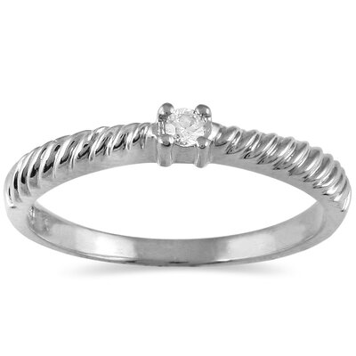 SZUL Round Cut Diamond Rope Promise Ring - Color: White, Material: White Gold, Size: 9