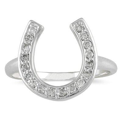 SZUL 14K White Gold Round Cut Diamond Horseshoe Ring - Size: 9.5 at Sears.com
