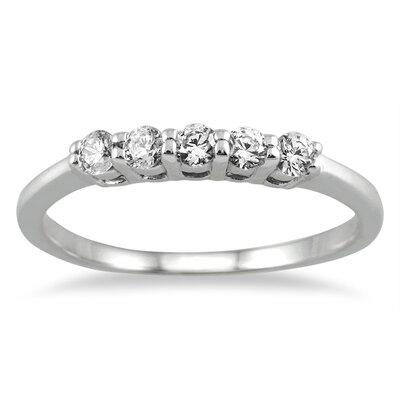 SZUL 14K White Gold Round Cut Diamond Wedding Band - Size: 11