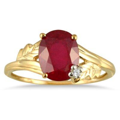 SZUL 10K Gold Oval Cut Gemstone Leaf Ring - Size: 6.5, Material: Yellow Gold, Stone: Ruby