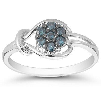 SZUL 10K White Gold Round Cut Diamond Love Knot Ring - Size: 6.5 at Sears.com