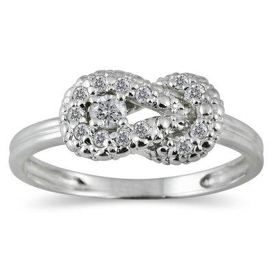 SZUL 10K White Gold Round Cut Diamond Knot Ring - Size: 9.5 at Sears.com