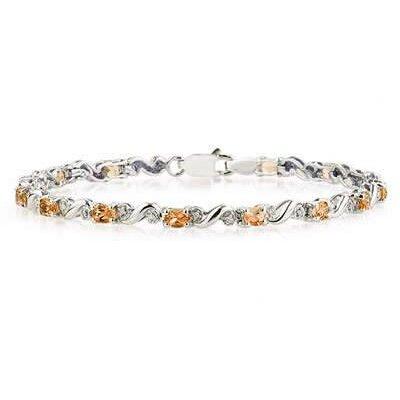 SZUL Oval Cut Gemstone Charm Bracelet - Stone: Citrine Material: White Gold