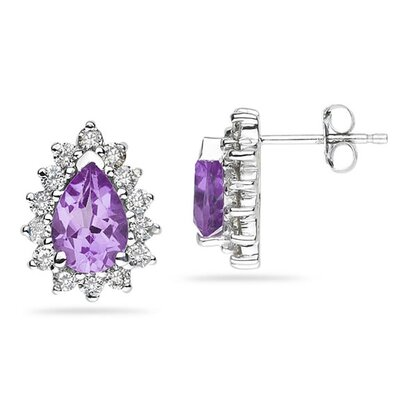 SZUL 14K White Gold Pear Cut Gemstone Flower Stud Earrings - Stone: Amethyst at Sears.com