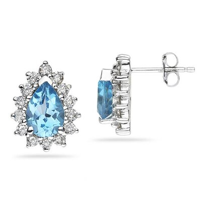 SZUL 14K White Gold Pear Cut Gemstone Flower Stud Earrings - Stone: Blue Topaz at Sears.com