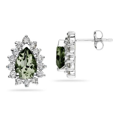 SZUL 14K White Gold Pear Cut Gemstone Flower Stud Earrings - Stone: Green Amethyst at Sears.com