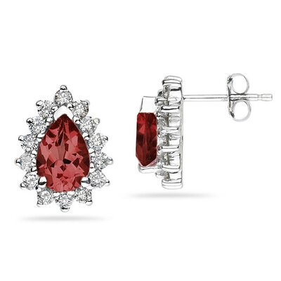 SZUL 14K White Gold Pear Cut Gemstone Flower Stud Earrings - Stone: Garnet at Sears.com