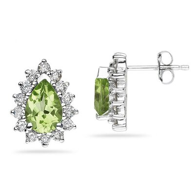 SZUL 14K White Gold Pear Cut Gemstone Flower Stud Earrings - Stone: Peridot at Sears.com
