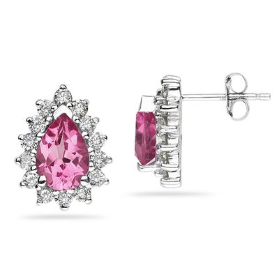 SZUL 14K White Gold Pear Cut Gemstone Flower Stud Earrings - Stone: Pink Topaz at Sears.com
