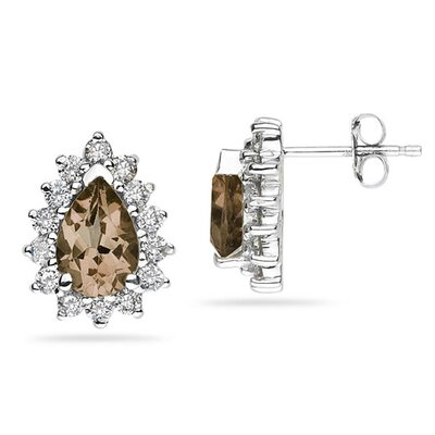 SZUL 14K White Gold Pear Cut Gemstone Flower Stud Earrings - Stone: Smokey Quartz at Sears.com