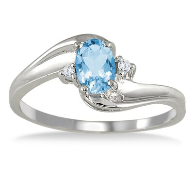 SZUL Gold Oval Cut Gemstone Wave Ring - Stone: Blue Topaz, Size: 6.5