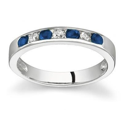SZUL 14K Gold Round Cut Gemstone Stackable Ring - Size: 5 Stone: Sapphire Color: 14k White Gold