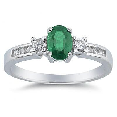 SZUL 14K White Gold Oval Cut Gemstone Regal Ring - Stone: Emerald, Size: 10.5