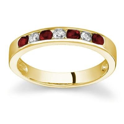 SZUL 14K Gold Round Cut Gemstone Stackable Ring - Size: 6.5 Stone: Ruby Color: 14k Yellow Gold