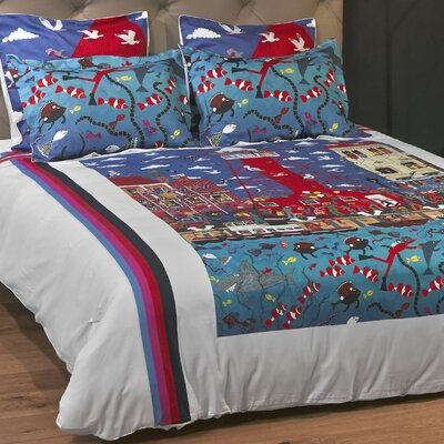 Pottering at the Port Duvet Cover Size: King