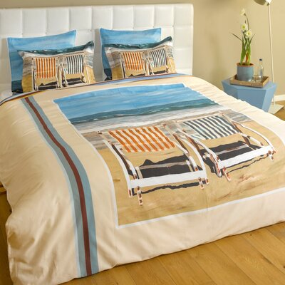 Chairs on the Beach Duvet Cover Size: Full/Queen