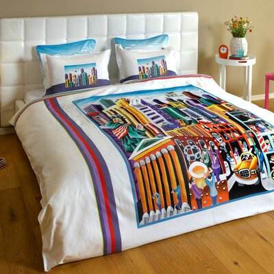 My New-York 3 Piece Reversible Duvet Cover Set Size: King