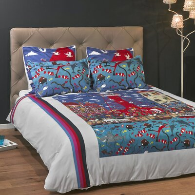 Pottering at the Port 3 Piece Reversible Duvet Cover Set Size: King