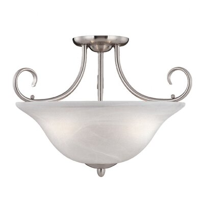 Main Street 3-Light Semi-Flush Mount Finish: Satin Nickel