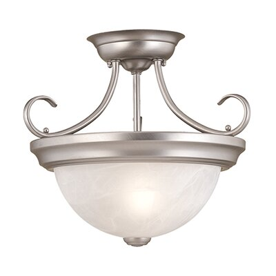 Upland 2-Light Semi-Flush Mount Size: 11.5 H x 13 W, Finish: Satin Nickel