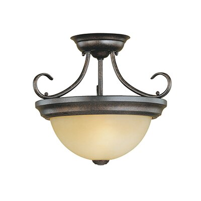 2-Light Semi-Flush Mount Size: 12 H x 15 W, Finish: Burnished Gold