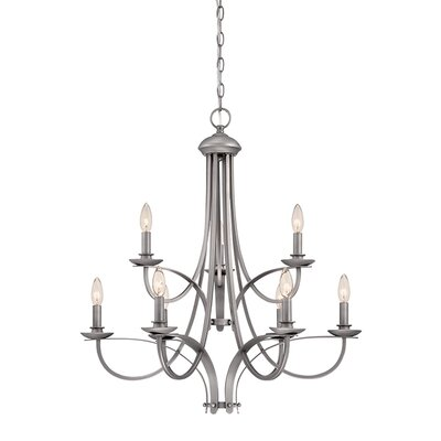 9-Light Candle-Style Chandelier Finish: Brushed Pewter