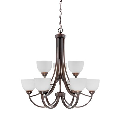 Camden 9-Light Shaded Chandelier Finish: Rubbed Bronze